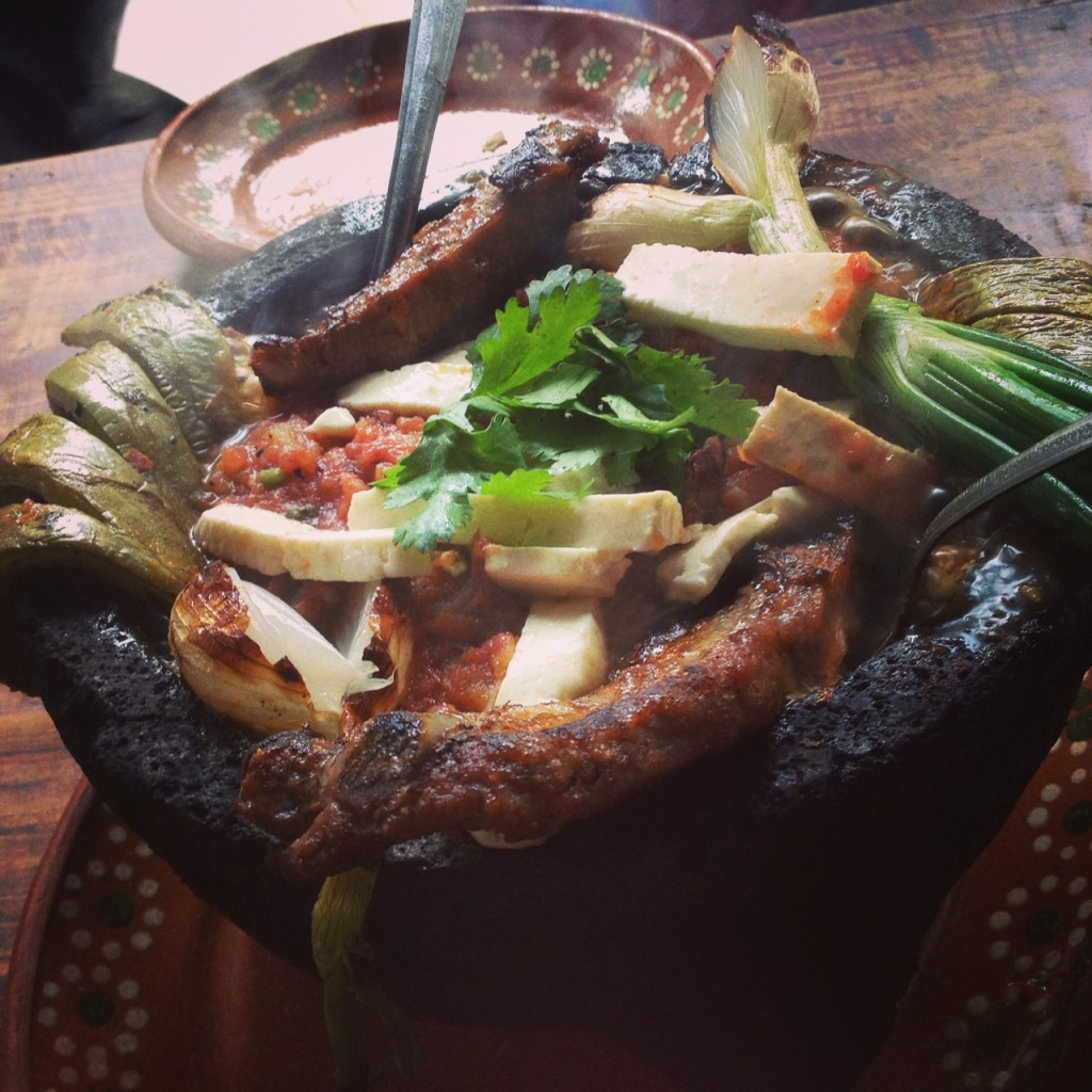 Molcajete, basically steamed deliciousness in a pot.