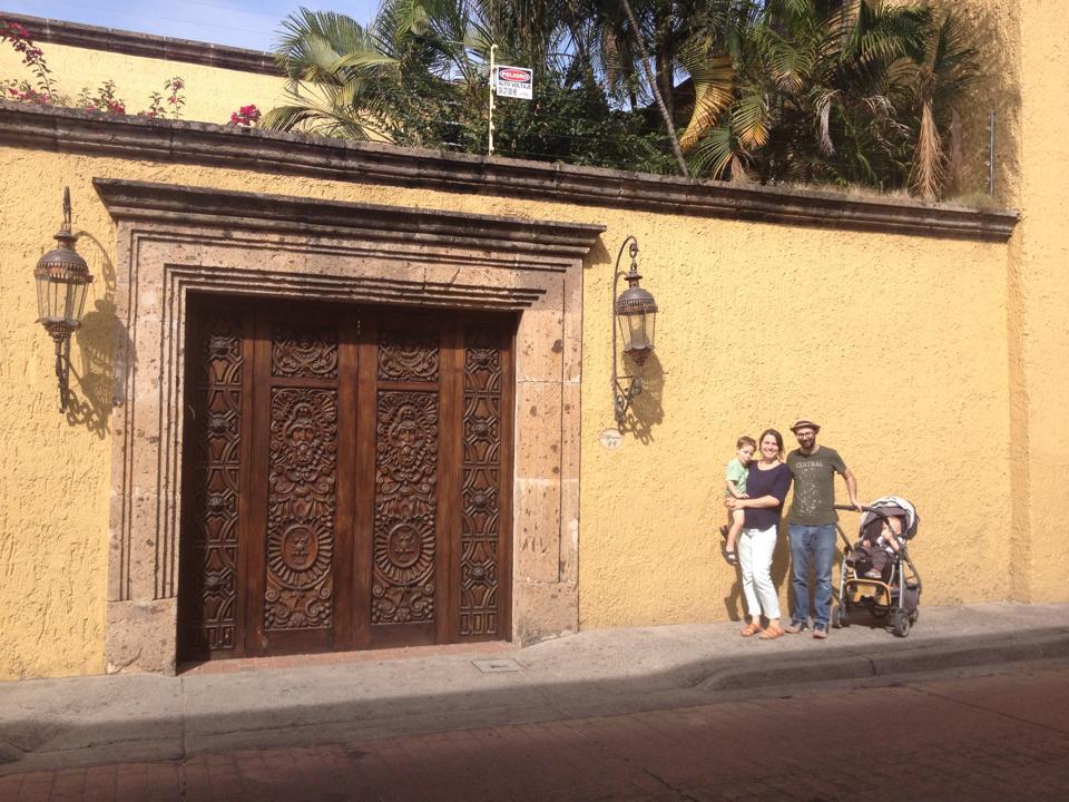 Little family, big door.